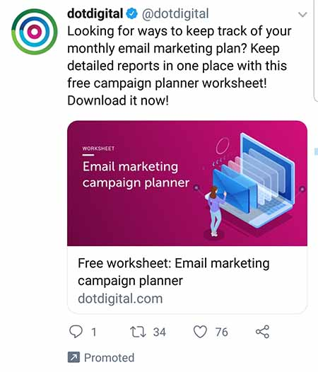 dotdigital tweet about email marketing campaign planner