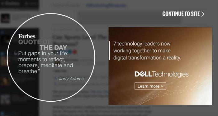 Interstitial on Dell website
