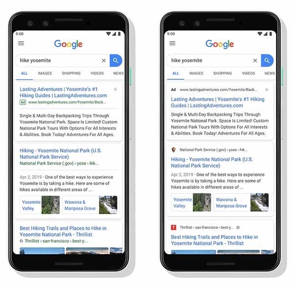 Google results showing before and after favicons being displayed