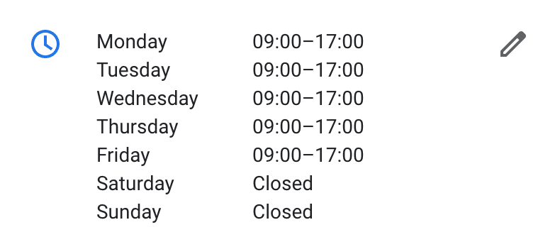 Google My Business Opening Hours