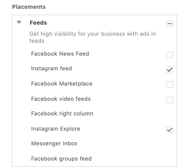 Selected placements options in Instagram