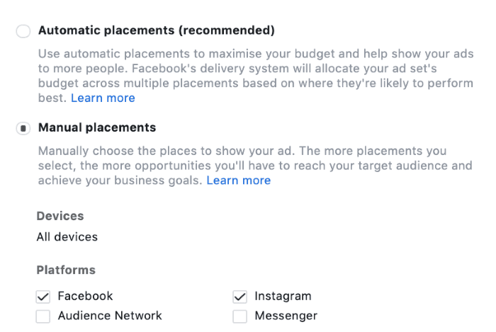 Placement options in Instagram - automatic and manual placements