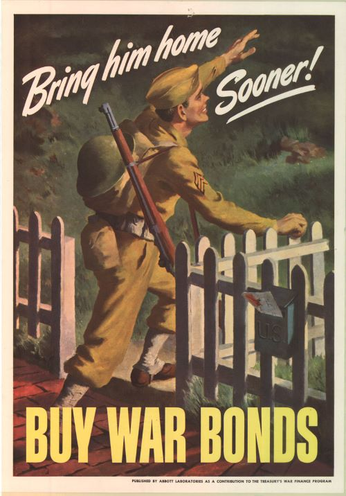 Old war time poster with 'buy war bonds' CTA at the bottom