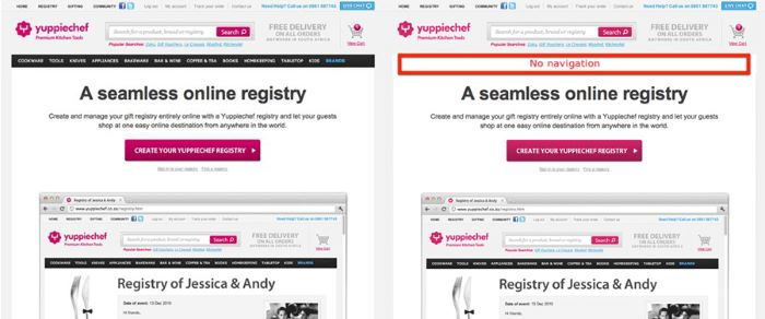 Before and after screenshots of landing page where the navigation has been removed