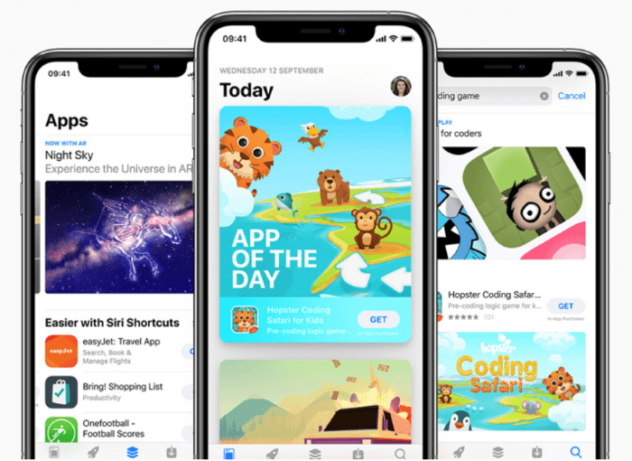 Showing apps in the app store
