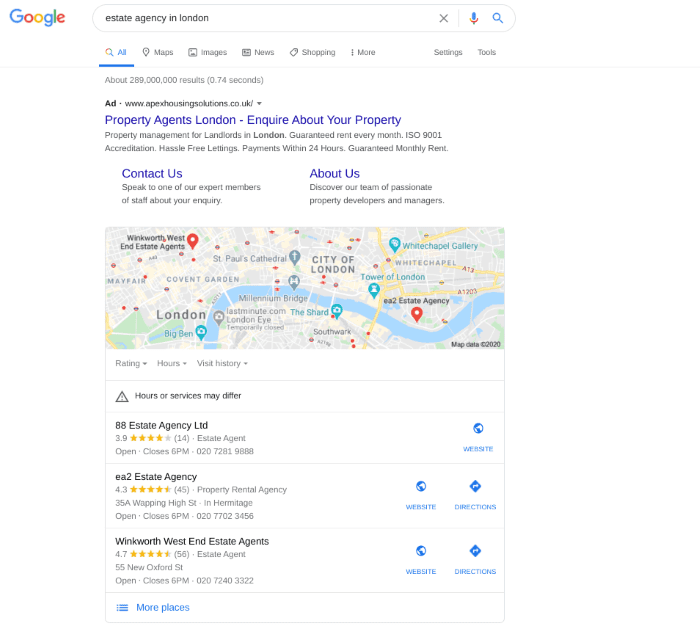 Search results for estate agency in London
