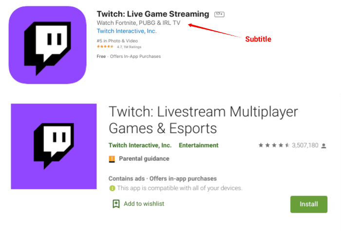 Twitch app listings in iOS app store and Google Play