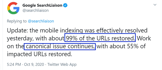Google tweets about indexing issues