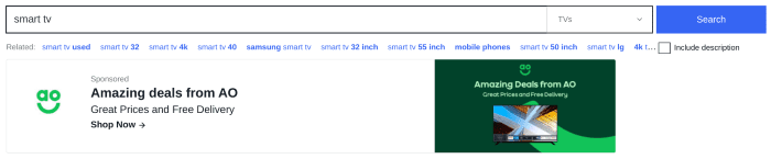 Ad from AO.com showing when you type in smart TV