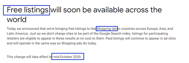 Free listings will soon be available across the world