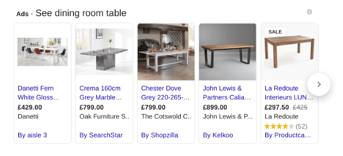 Tables displaying in Google Shopping