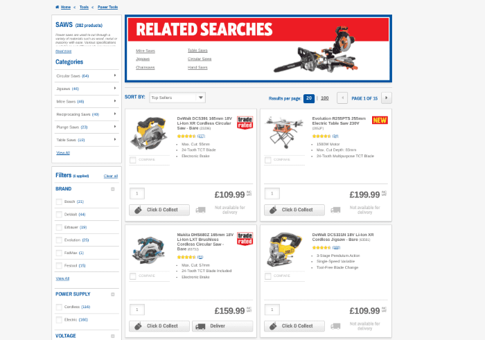 Screwfix website showing product searches