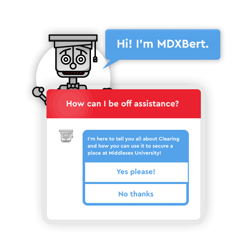 Middlesex University creative chatbot case study image showing the chatbot app