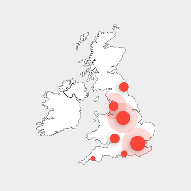 Stagecoach PPC case study image showing data visualisation of PPC impressions on UK map
