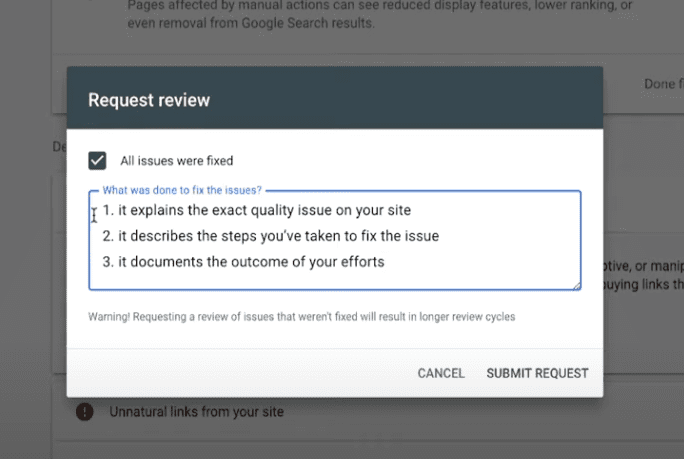Google penalty review request