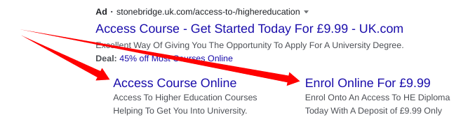 Example site link extensions
