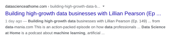 Data science at home podcast as an organic blue link