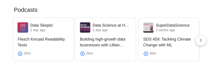 Search results for data science podcasts