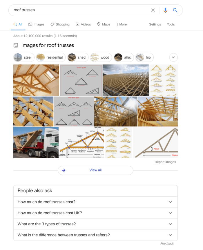 Image results in the main Google search results