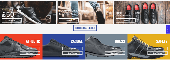 B2B eCommerce website Shoes For Crews in-page navigation