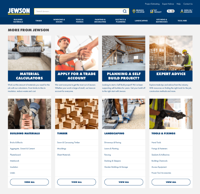 B2B eCommerce example showing Jewson website