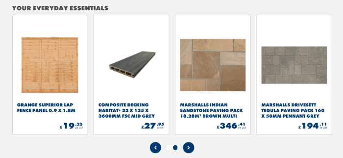 B2B eCommerce example showing Jewson everyday essentials