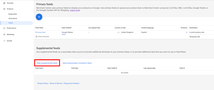Example supplementary feed for custom labels in Google Shopping