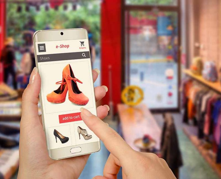 ecommerce buying shoes on mobile phone
