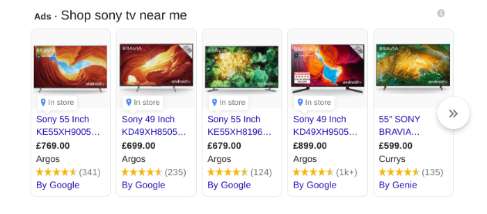 Example of search results for Sony TV near me