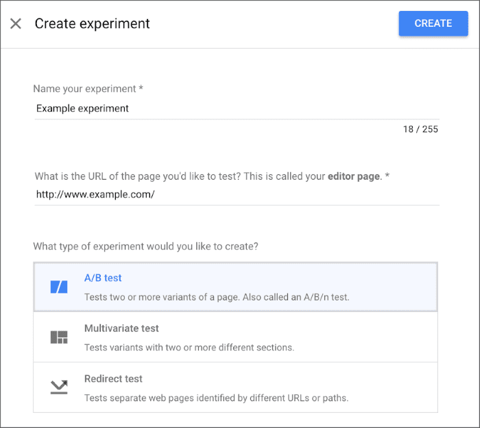How to create an A/B test in Google Optimize