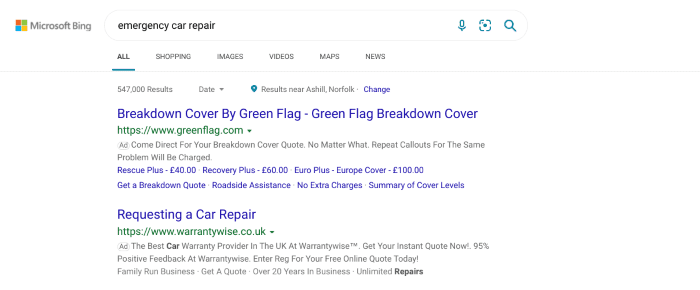 Bing ads search results for emergency car repair