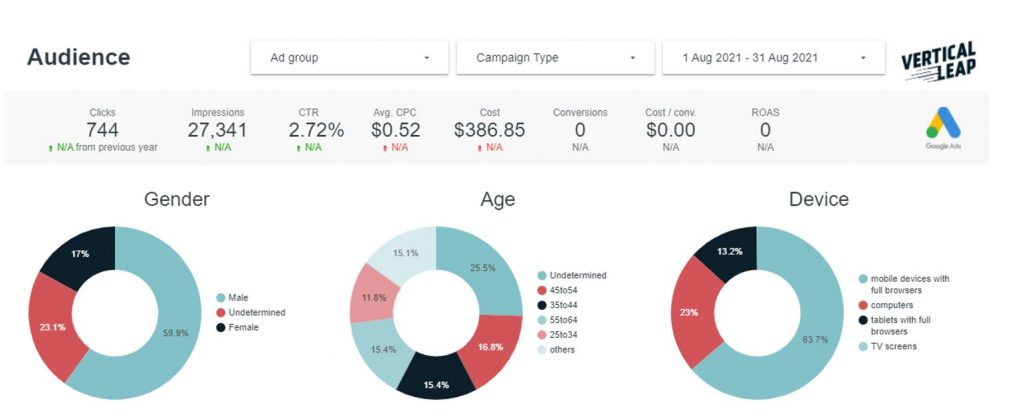Example of Vertical Leap's PPC reporting